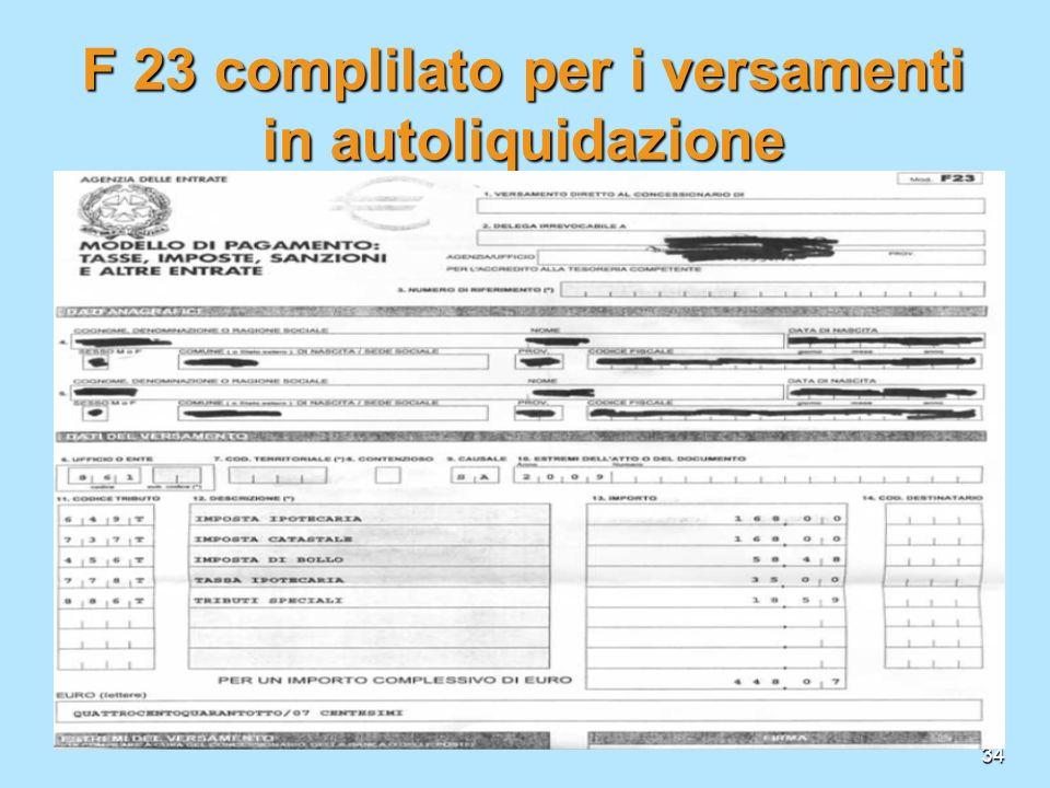 34 F 23 complilato per i versamenti in autoliquidazione