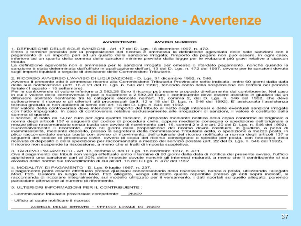 37 Avviso di liquidazione - Avvertenze