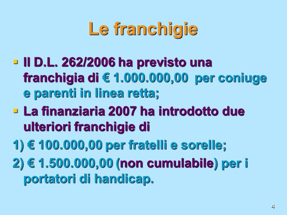4 Le franchigie Il D.L. 262/2006 ha previsto una franchigia di 1.000.000,00 per coniuge e parenti in linea retta; Il D.L. 262/2006 ha previsto una fra