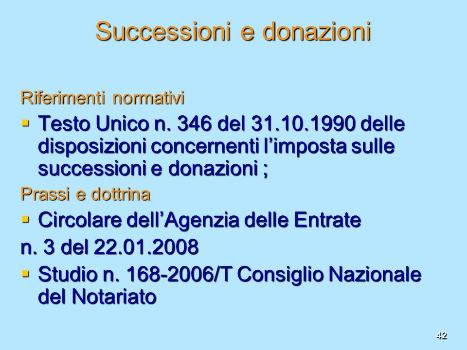 42 Successioni e donazioni Riferimenti normativi Testo Unico n. 346 del 31.10.1990 delle disposizioni concernenti limposta sulle successioni e donazio