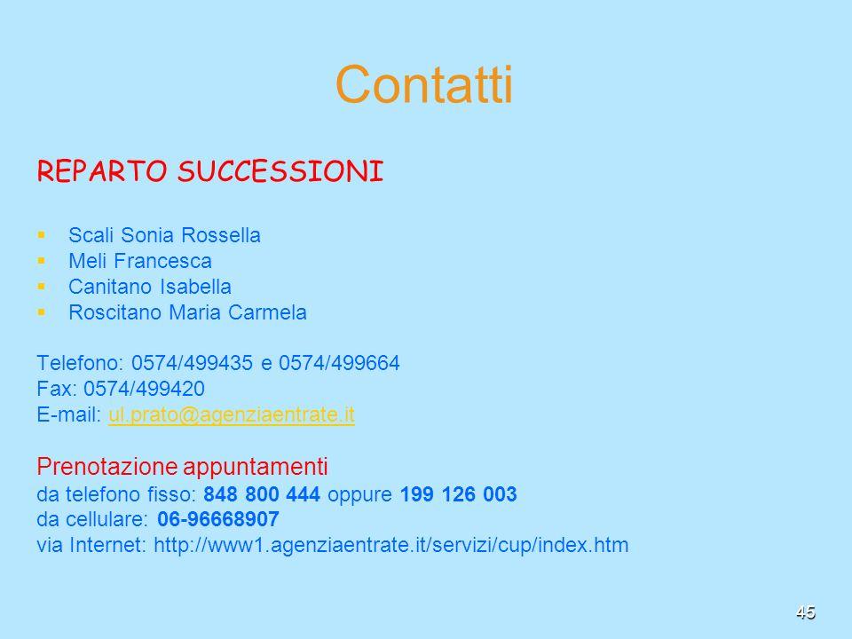 45 Contatti REPARTO SUCCESSIONI Scali Sonia Rossella Meli Francesca Canitano Isabella Roscitano Maria Carmela Telefono: 0574/499435 e 0574/499664 Fax: