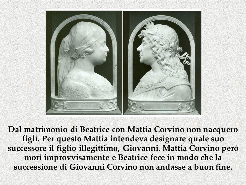 Dal matrimonio di Beatrice con Mattia Corvino non nacquero figli. Per questo Mattia intendeva designare quale suo successore il figlio illegittimo, Gi