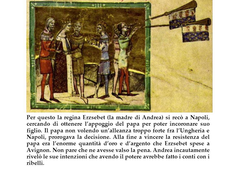 Per questo la regina Erzsebet (la madre di Andrea) si recò a Napoli, cercando di ottenere lappoggio del papa per poter incoronare suo figlio. Il papa