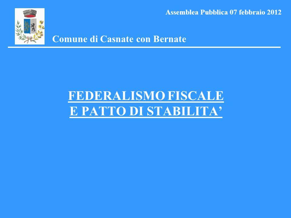 FEDERALISMO FISCALE E PATTO DI STABILITA Comune di Casnate con Bernate Assemblea Pubblica 07 febbraio 2012