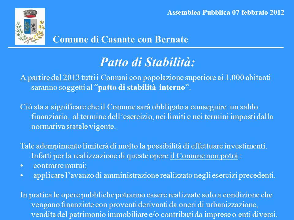 Patto di Stabilità: Comune di Casnate con Bernate Assemblea Pubblica 07 febbraio 2012 A partire dal 2013 tutti i Comuni con popolazione superiore ai 1.000 abitanti saranno soggetti al patto di stabilità interno.