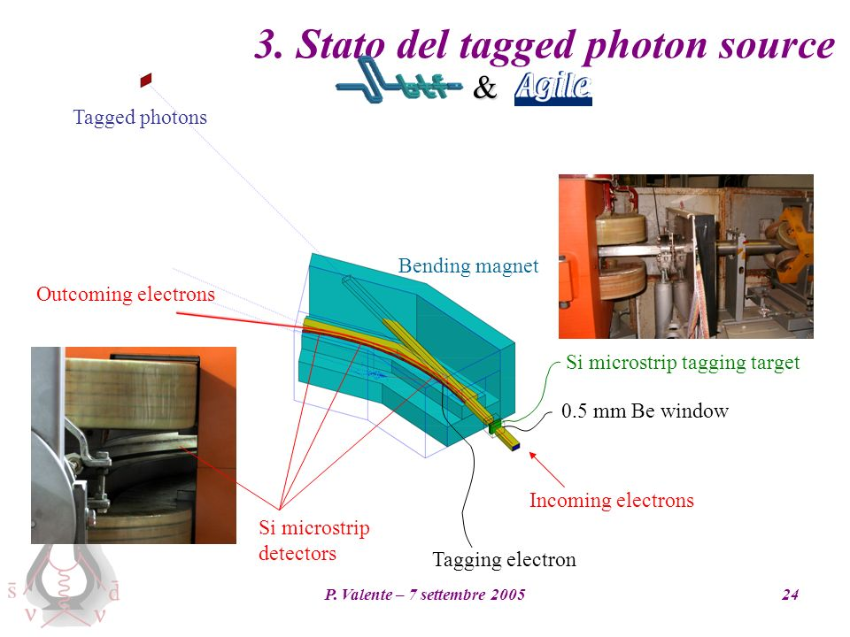 P. Valente – 7 settembre 200524 3. Stato del tagged photon source 0.5 mm Be window Outcoming electrons Bending magnet Tagged photons Incoming electron