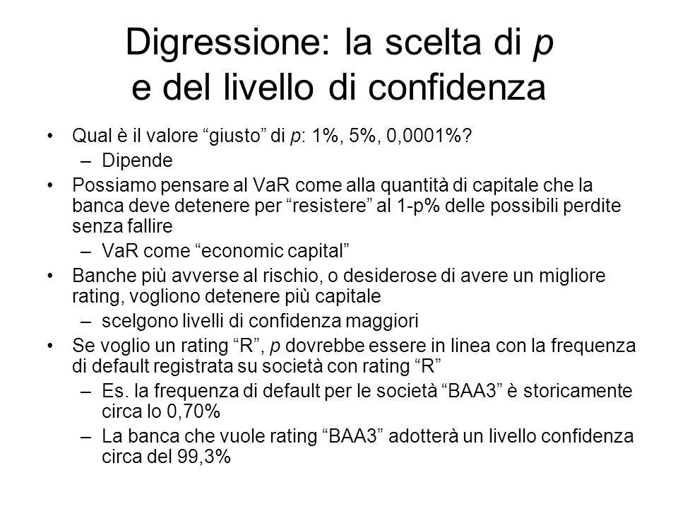 Digressione: la scelta di p e del livello di confidenza Qual è il valore giusto di p: 1%, 5%, 0,0001%.