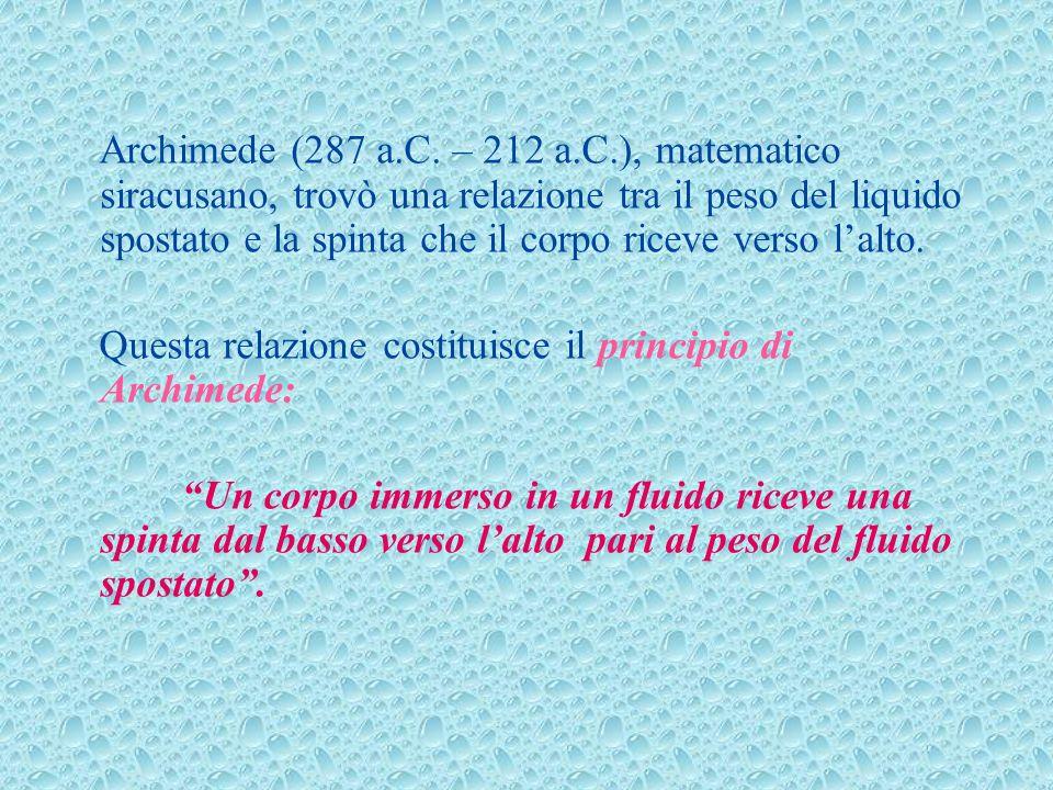 Archimede (287 a.C. – 212 a.C.), matematico siracusano, trovò una relazione tra il peso del liquido spostato e la spinta che il corpo riceve verso lal