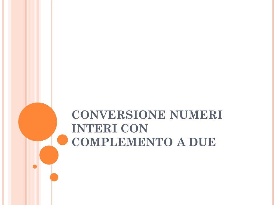 CONVERSIONE NUMERI INTERI CON COMPLEMENTO A DUE