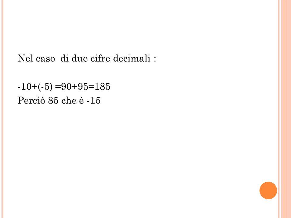 Nel caso di due cifre decimali : -10+(-5) =90+95=185 Perciò 85 che è -15