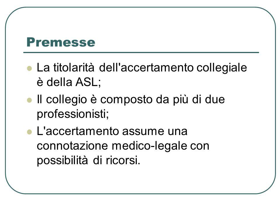 Premesse La titolarità dell'accertamento collegiale è della ASL; Il collegio è composto da più di due professionisti; L'accertamento assume una connot