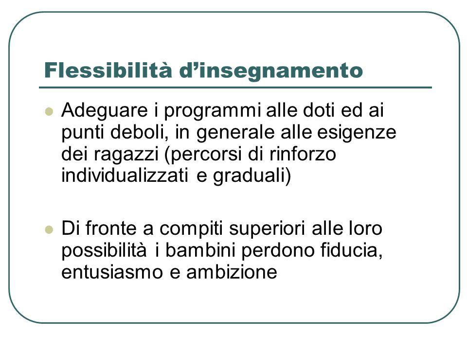 Flessibilità dinsegnamento Adeguare i programmi alle doti ed ai punti deboli, in generale alle esigenze dei ragazzi (percorsi di rinforzo individualiz