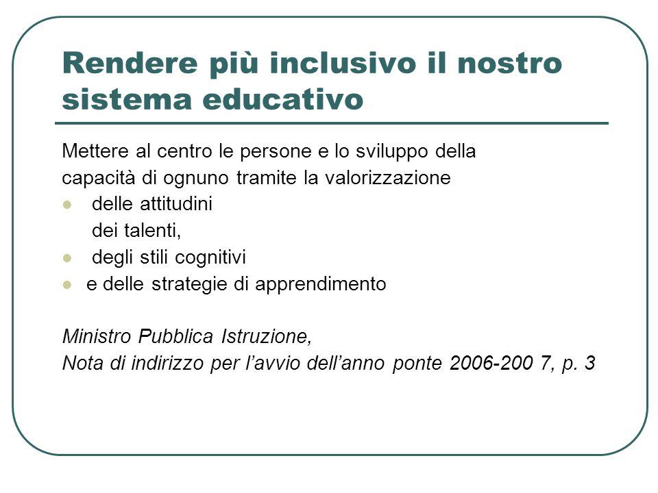 Rendere più inclusivo il nostro sistema educativo Mettere al centro le persone e lo sviluppo della capacità di ognuno tramite la valorizzazione delle