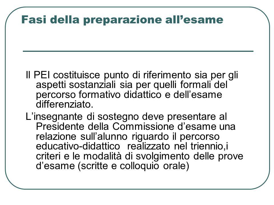 Fasi della preparazione allesame Il PEI costituisce punto di riferimento sia per gli aspetti sostanziali sia per quelli formali del percorso formativo