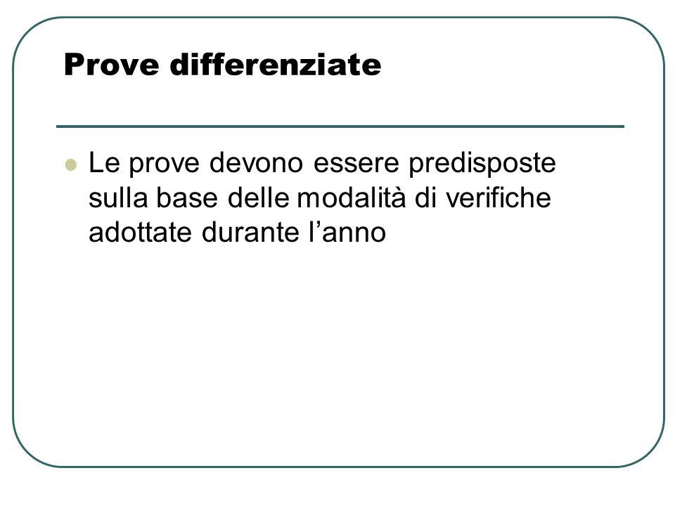 Prove differenziate Le prove devono essere predisposte sulla base delle modalità di verifiche adottate durante lanno