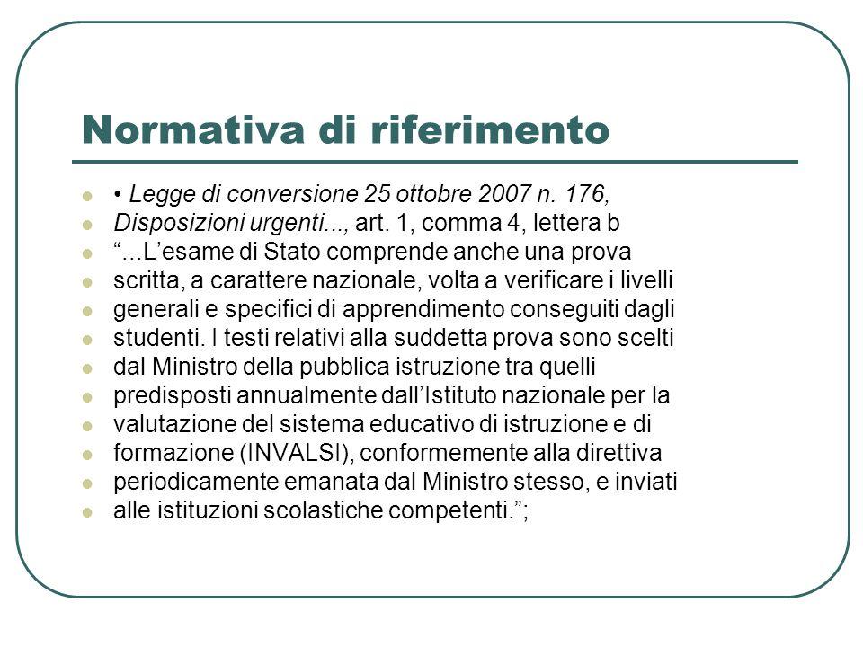 Normativa di riferimento Legge di conversione 25 ottobre 2007 n. 176, Disposizioni urgenti..., art. 1, comma 4, lettera b...Lesame di Stato comprende