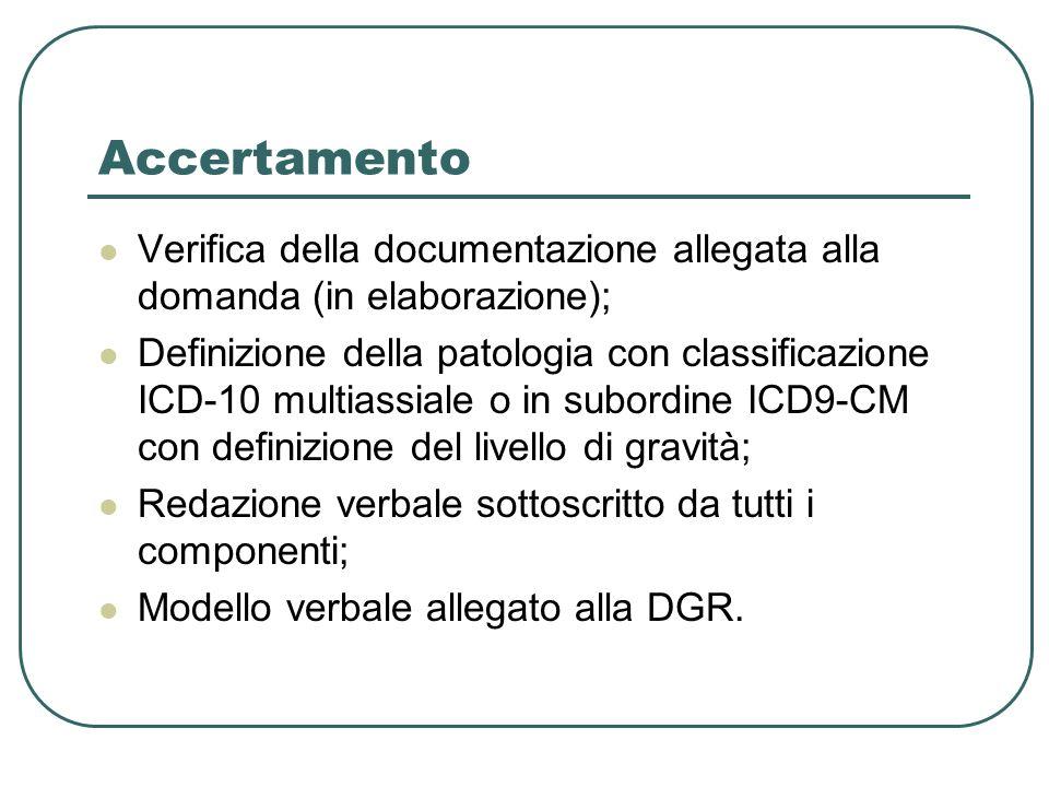 Accertamento Verifica della documentazione allegata alla domanda (in elaborazione); Definizione della patologia con classificazione ICD-10 multiassial