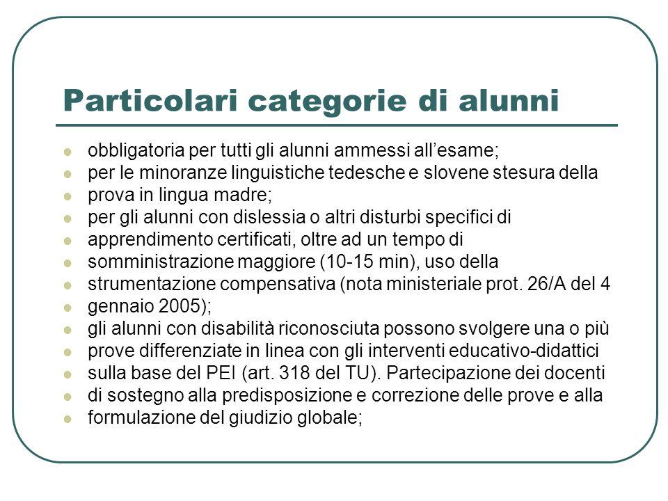 Particolari categorie di alunni obbligatoria per tutti gli alunni ammessi allesame; per le minoranze linguistiche tedesche e slovene stesura della pro