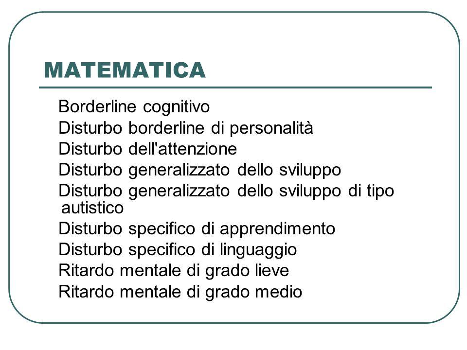MATEMATICA Borderline cognitivo Disturbo borderline di personalità Disturbo dell'attenzione Disturbo generalizzato dello sviluppo Disturbo generalizza