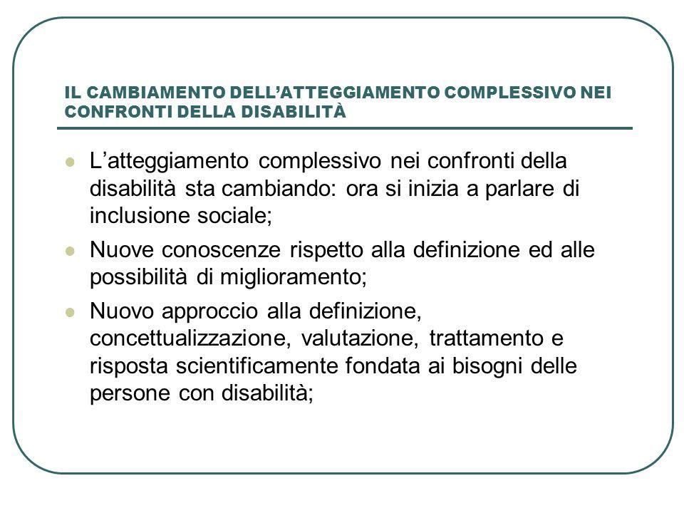 IL CAMBIAMENTO DELLATTEGGIAMENTO COMPLESSIVO NEI CONFRONTI DELLA DISABILITÀ Latteggiamento complessivo nei confronti della disabilità sta cambiando: o