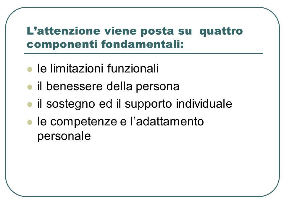 Lattenzione viene posta su quattro componenti fondamentali: le limitazioni funzionali il benessere della persona il sostegno ed il supporto individual