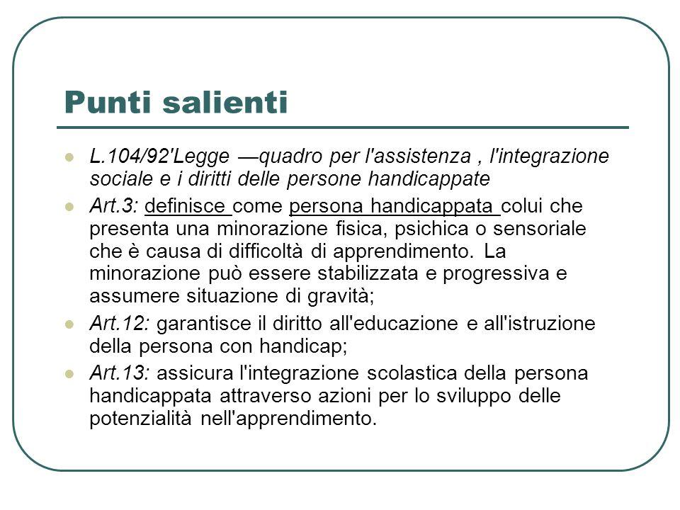 Punti salienti L.104/92'Legge quadro per l'assistenza, l'integrazione sociale e i diritti delle persone handicappate Art.3: definisce come persona han