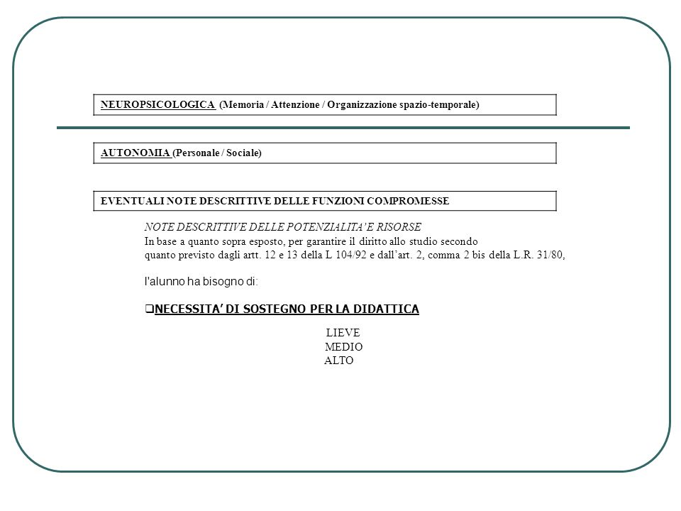 NEUROPSICOLOGICA (Memoria / Attenzione / Organizzazione spazio-temporale) AUTONOMIA (Personale / Sociale) EVENTUALI NOTE DESCRITTIVE DELLE FUNZIONI CO