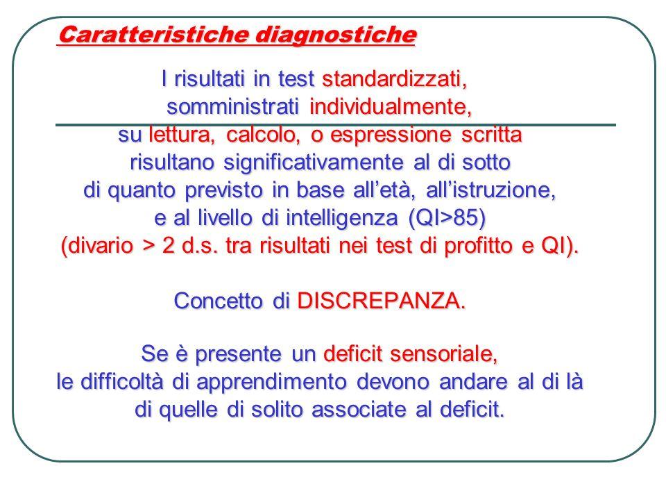 Caratteristiche diagnostiche I risultati in test standardizzati, I risultati in test standardizzati, somministrati individualmente, su lettura, calcol