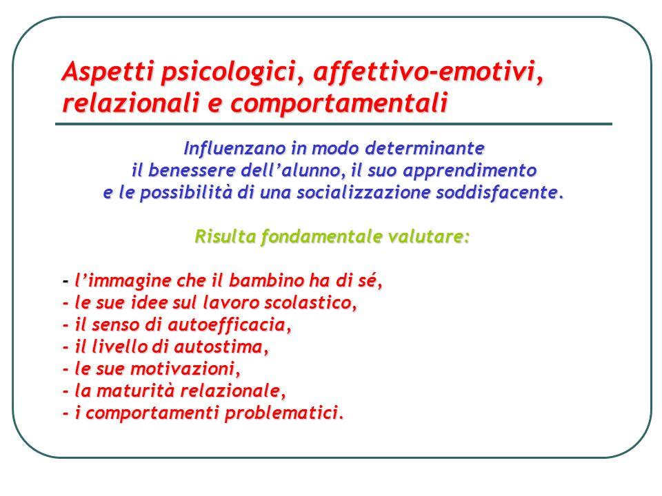 Aspetti psicologici, affettivo-emotivi, relazionali e comportamentali Influenzano in modo determinante il benessere dellalunno, il suo apprendimento e