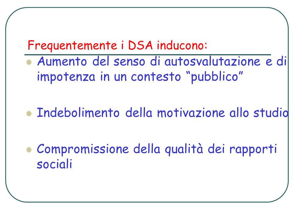 Frequentemente i DSA inducono: Aumento del senso di autosvalutazione e di impotenza in un contesto pubblico Indebolimento della motivazione allo studi