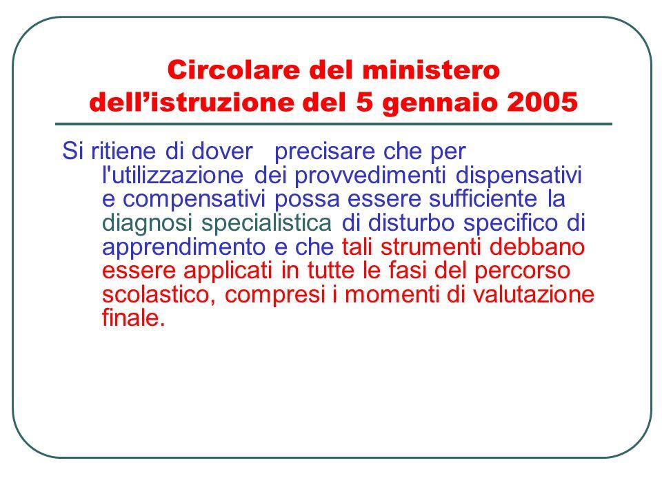 Circolare del ministero dellistruzione del 5 gennaio 2005 Si ritiene di dover precisare che per l'utilizzazione dei provvedimenti dispensativi e compe