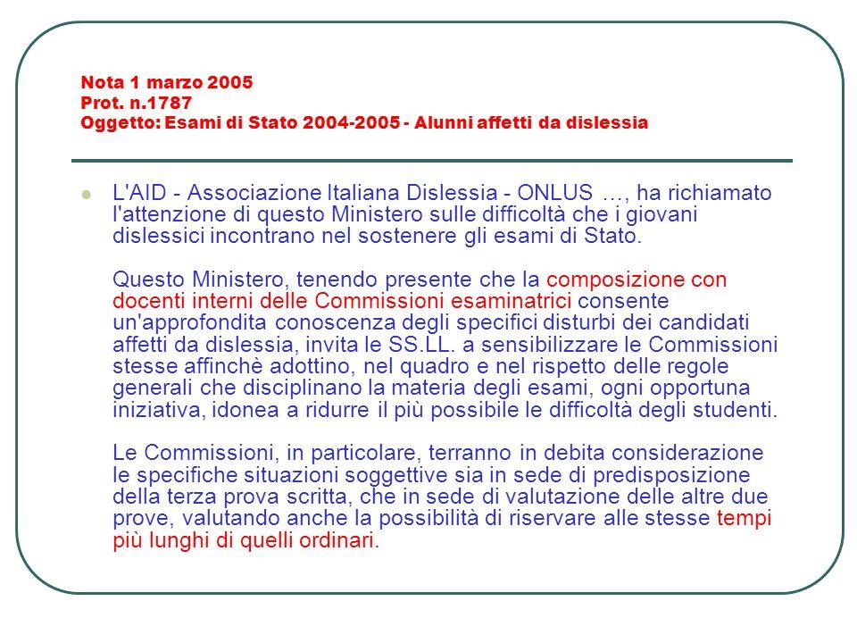 Nota 1 marzo 2005 Prot. n.1787 Oggetto: Esami di Stato 2004-2005 - Alunni affetti da dislessia L'AID - Associazione Italiana Dislessia - ONLUS …, ha r