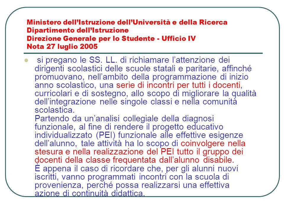 Ministero dellIstruzione dellUniversità e della Ricerca Dipartimento dellIstruzione Direzione Generale per lo Studente - Ufficio IV Nota 27 luglio 200