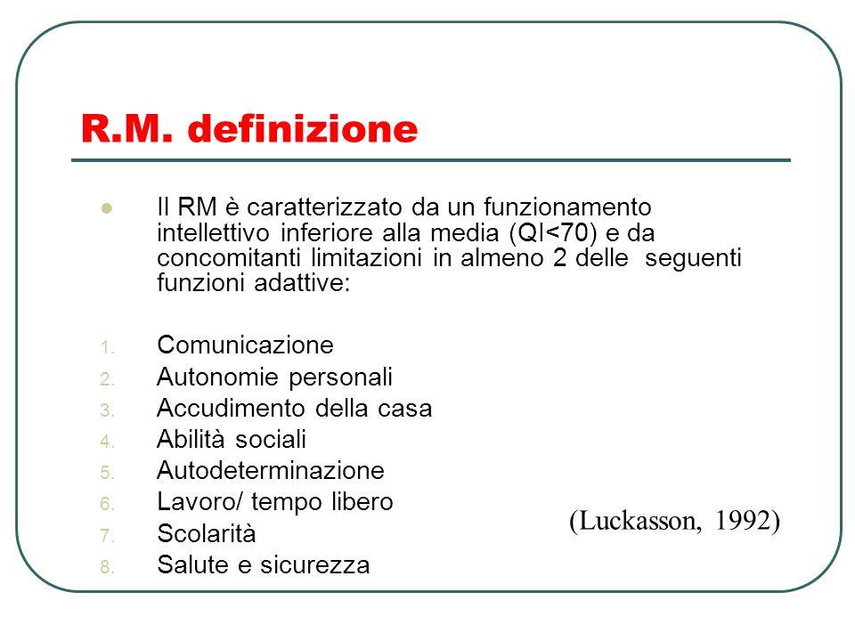 R.M. definizione Il RM è caratterizzato da un funzionamento intellettivo inferiore alla media (QI<70) e da concomitanti limitazioni in almeno 2 delle