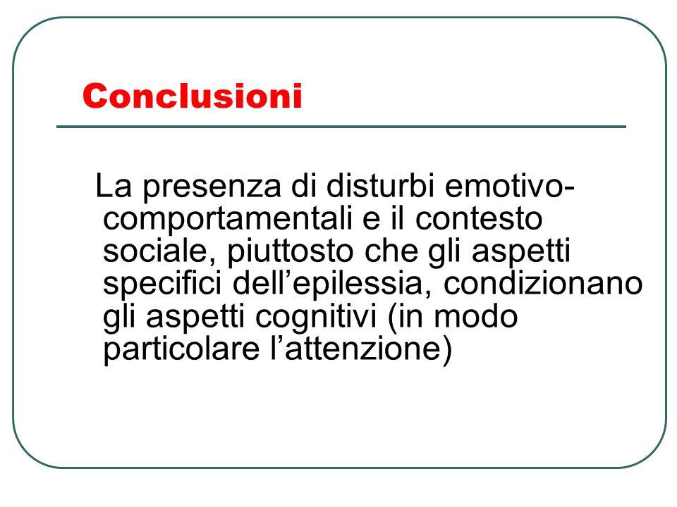 Conclusioni La presenza di disturbi emotivo- comportamentali e il contesto sociale, piuttosto che gli aspetti specifici dellepilessia, condizionano gl