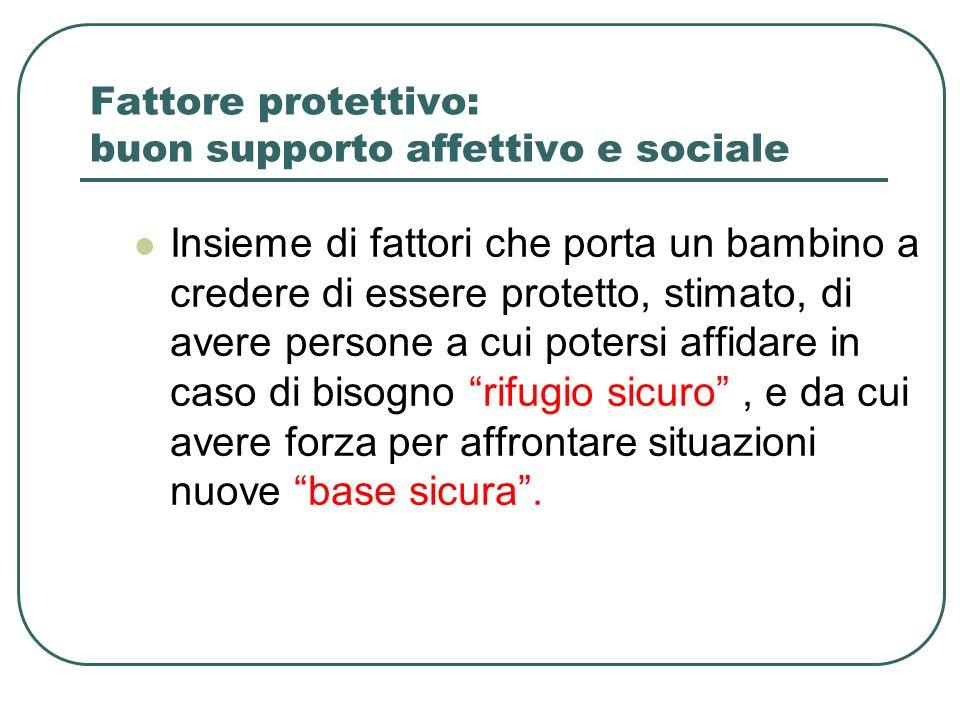 Fattore protettivo: buon supporto affettivo e sociale Insieme di fattori che porta un bambino a credere di essere protetto, stimato, di avere persone