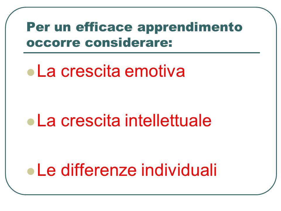 Per un efficace apprendimento occorre considerare: La crescita emotiva La crescita intellettuale Le differenze individuali