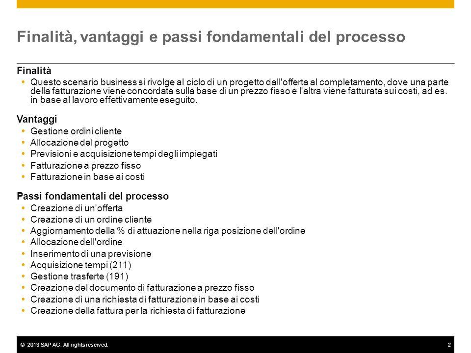 ©2013 SAP AG. All rights reserved.2 Finalità, vantaggi e passi fondamentali del processo Finalità Questo scenario business si rivolge al ciclo di un p