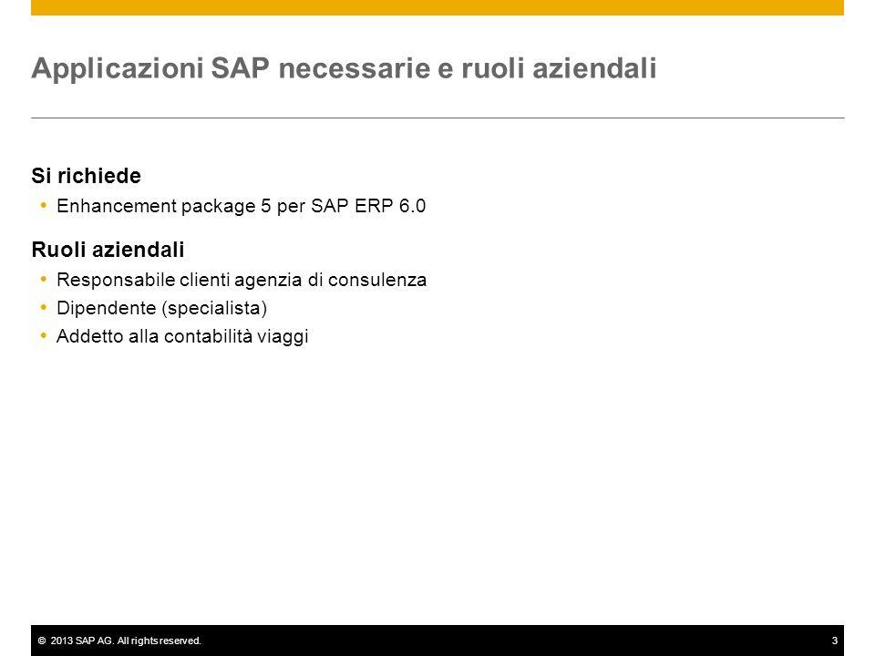 ©2013 SAP AG. All rights reserved.3 Applicazioni SAP necessarie e ruoli aziendali Si richiede Enhancement package 5 per SAP ERP 6.0 Ruoli aziendali Re