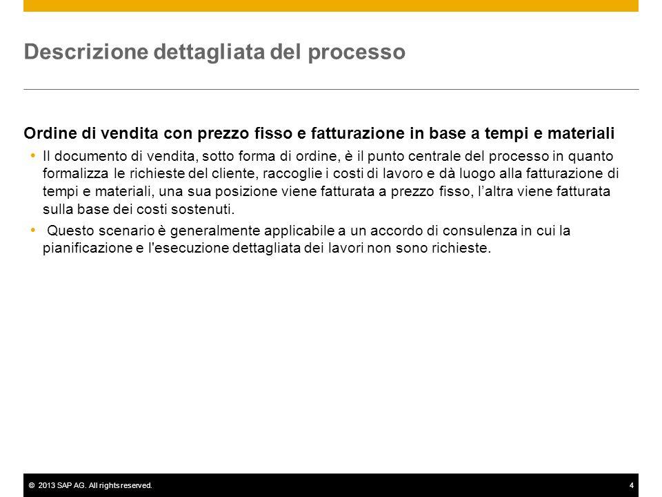 ©2013 SAP AG. All rights reserved.4 Descrizione dettagliata del processo Ordine di vendita con prezzo fisso e fatturazione in base a tempi e materiali