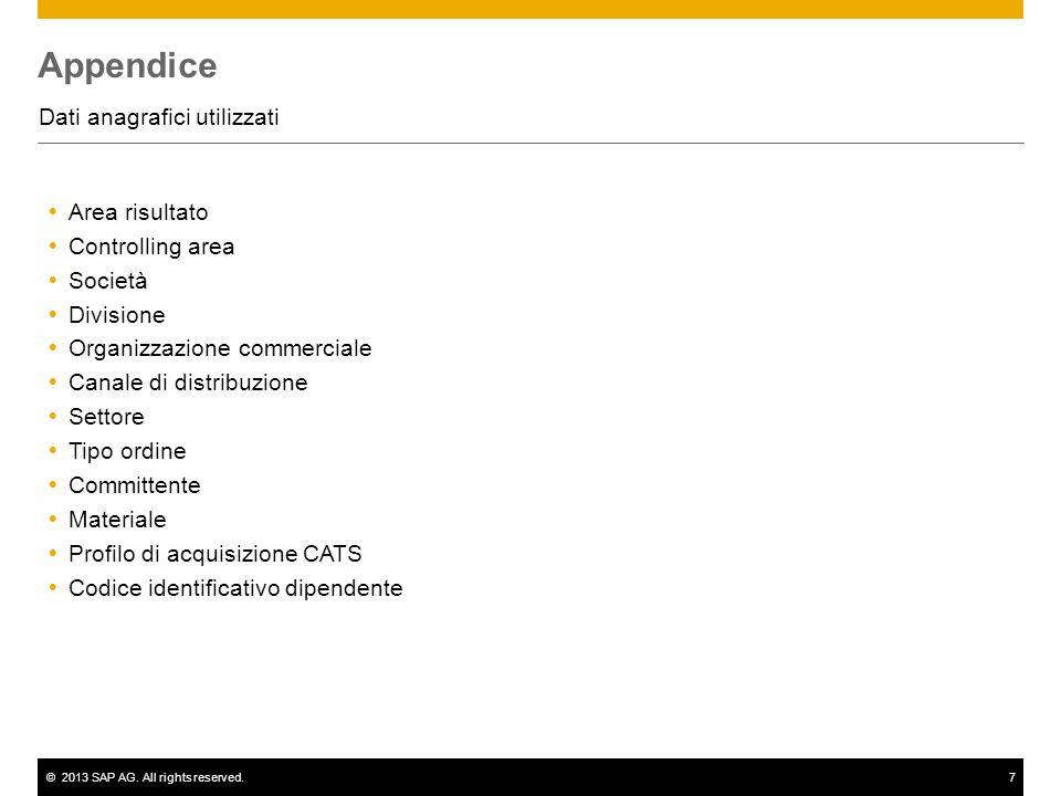 ©2013 SAP AG. All rights reserved.7 Appendice Dati anagrafici utilizzati Area risultato Controlling area Società Divisione Organizzazione commerciale