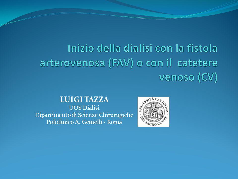 LUIGI TAZZA UOS Dialisi Dipartimento di Scienze Chirurugiche Policlinico A. Gemelli - Roma