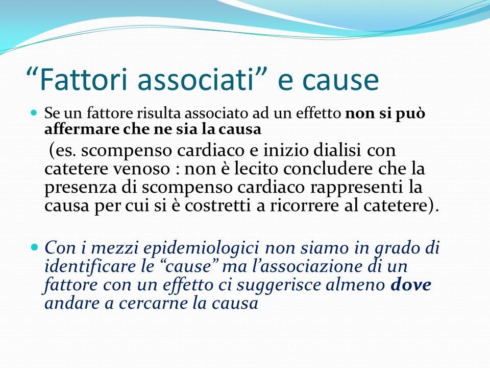 Fattori associati e cause Se un fattore risulta associato ad un effetto non si può affermare che ne sia la causa (es. scompenso cardiaco e inizio dial