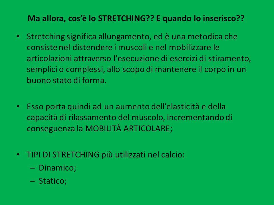 Ma allora, cosè lo STRETCHING?? E quando lo inserisco?? Stretching significa allungamento, ed è una metodica che consiste nel distendere i muscoli e n