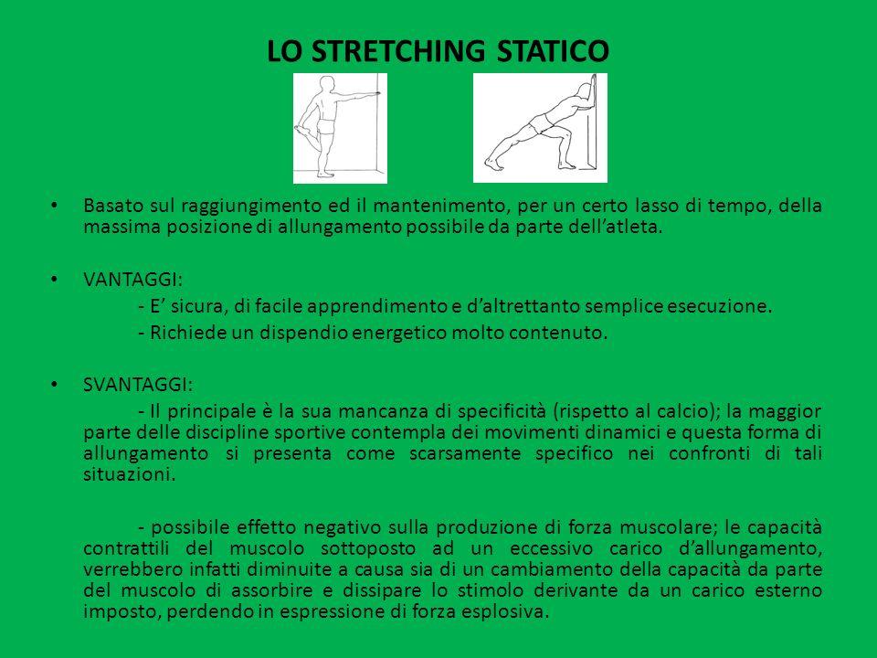 LO STRETCHING STATICO Basato sul raggiungimento ed il mantenimento, per un certo lasso di tempo, della massima posizione di allungamento possibile da