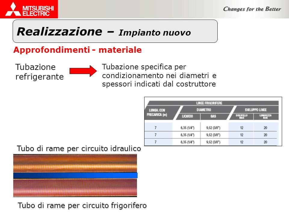 Realizzazione – Impianto nuovo Approfondimenti - materiale Tubazione refrigerante Tubazione specifica per condizionamento nei diametri e spessori indi
