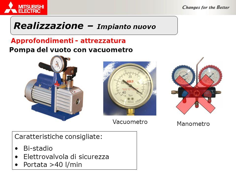 Realizzazione – Impianto nuovo Approfondimenti - attrezzatura Pompa del vuoto con vacuometro Vacuometro Manometro Caratteristiche consigliate: Bi-stad