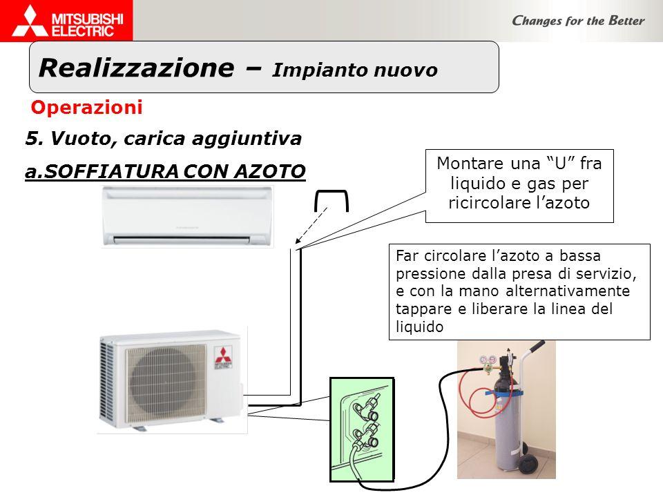 Realizzazione – Impianto nuovo Operazioni 5.Vuoto, carica aggiuntiva a.SOFFIATURA CON AZOTO Montare una U fra liquido e gas per ricircolare lazoto Far