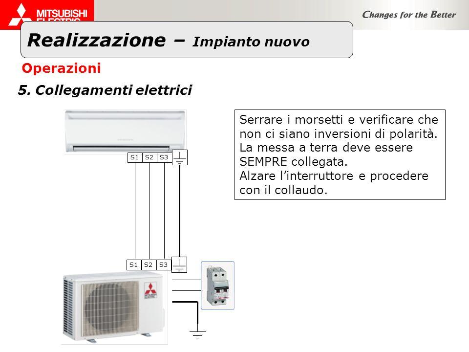 Realizzazione – Impianto nuovo Operazioni 5.Collegamenti elettrici Serrare i morsetti e verificare che non ci siano inversioni di polarità. La messa a