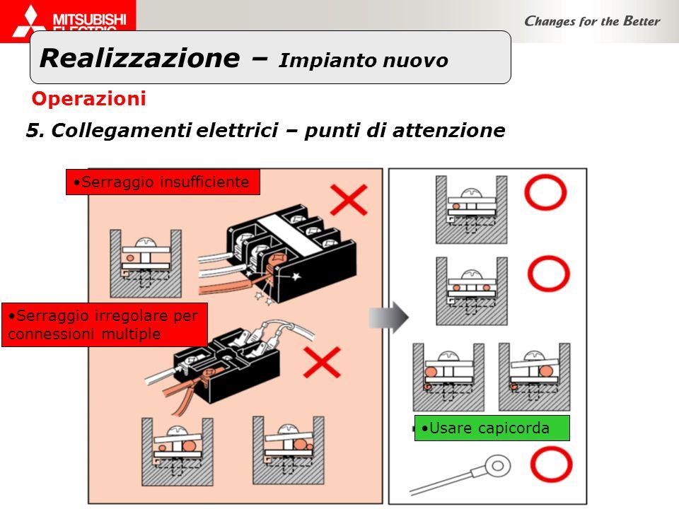 Realizzazione – Impianto nuovo Operazioni 5.Collegamenti elettrici – punti di attenzione Serraggio insufficiente Serraggio irregolare per connessioni